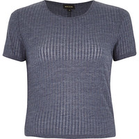 River Island Womens Blue ribbed crop top