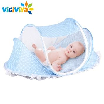 4pcs/lot Baby Crib Bed With Mattress Pillow Set Portable Folding Crib Netting Newborn Bedding Travel Sleep Mosquito Net Bed