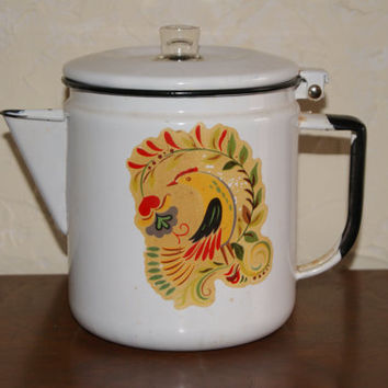 Vintage White With Black Trim Enamelware Percolator Coffee Pot Decorated With Bird Design 1950s