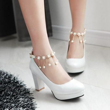 White Wedding shoes platform high heel Women Shoes pumps sy-2068