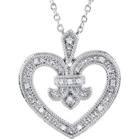 "Sterling Silver Genuine Diamond Heart Design 18"" Necklace"