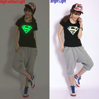 026,Superman T Shirt Lovers clothes Women's Men's Luminous casual O neck short sleeve t-shirts for couples S- XXXL Cotton tees NT015 = 1946087876