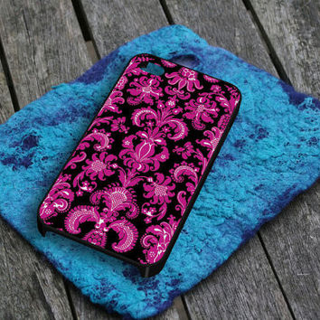 Black Pink Damask Pattern iPhone 5 iPhone 4 / 4S Plastic Hard Case Soft Rubber Case