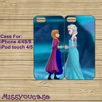 iphone 4 case,iphone 4s case,cute iphone 4 case,iphone 5 case,cute iphone 5 case,Frozen,best friends case,anna,elsa,in plasitc,silicone.