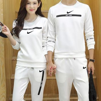 Nike Women Men Fashion Casual Top Sweater Pants Trousers Set Two-Piece-10