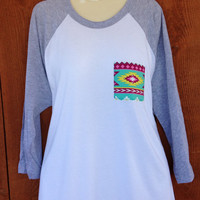 3/4 Sleeve Ash Gray with Aztec print Pocket and Crystal Accents