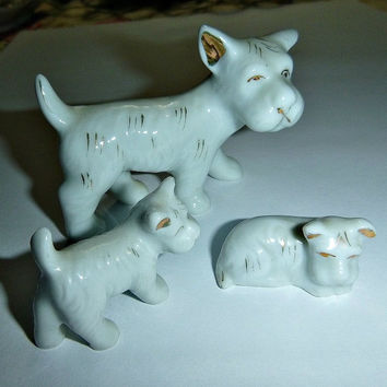Vintage Scotty Dog Family Figurines, 50s Japan Scottie Dogs, Porcelain Terrier Dog Figurines, Ceramic Japan Statues Collectibles, Home Decor