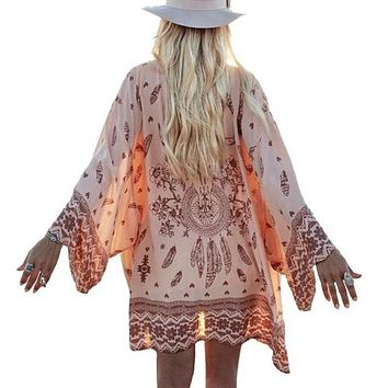 2016 Fashion Women Summer Chiffon Blouse Beach Boho Kimono Cardigan Floral Printed Long Sleeve Casual Loose Long Beach Cover up