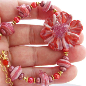 Breathtaking Coral Pink Lampwork Flower Bracelet, Artisan Sculptured Glass Set, Swarovski Crystals, FW Pearls, Gold Filled Bracelet - Summer