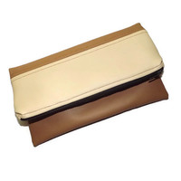 Foldover clutch for autumn/ Vegan leather clutch/ Cream, caramel foldover clutch