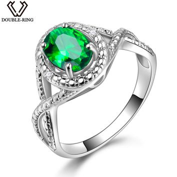 DOUBLE-R 925 Sterling Silver Ring Zircon Created Oval 1.2ct Emerald Gemstone Engagement Rings for Women