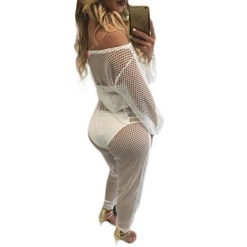 Women Mesh Jumpsuit Sheer See Through Off Shoulder  Long Sleeve Bodysuit Long Pants Sexy Club Jumpsuits 2016 Drop Shipping