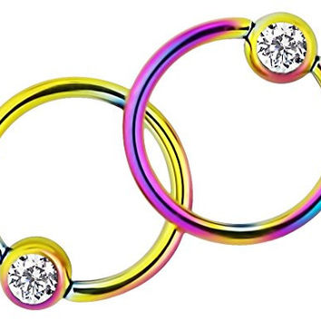 Pair of 2: 16g 3/8 Inch Surgical Steel Rainbow Titanium IP Jeweled Captive Bead CBR Hoop Earrings