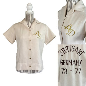1970's Womens Bowling Shirt, Gold Sparkle, Stuttgart Germany, Vintage Pinup, Military Base, Retro Shirts, Rockabilly Top, Ladies League