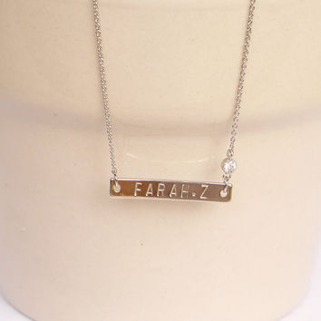 Silver Name Plate Necklace with CZ
