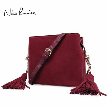 2018 Latest women Real Suede Leather Tassels Shoulder Bag Fashion Lady Small Crossbody Purse Female Flap Handbag For Grils Sac