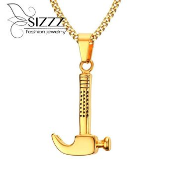 Men's Stainless Steel Craftsman Claw Hammer Pendant Necklace in Silver Mechanic Tool Male Jewelry