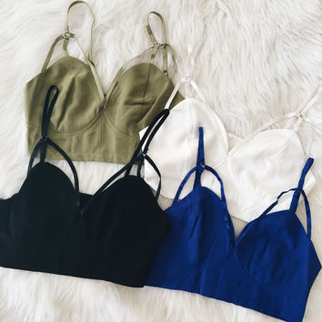 Strappy Crop Top (Olive, White, Blue, Black)