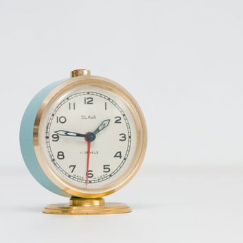 Soviet Alarm Clock, Vintage Mint Blue and Gold Slava Clock - NOT WORKING, Russian Desk Clock, Slava Soviet Union, ohtteam