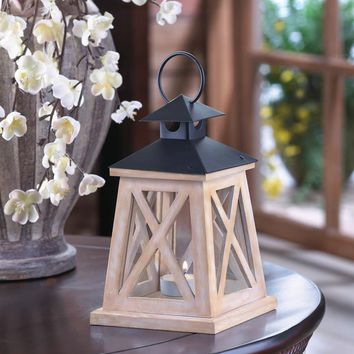 "Coastal Living-Distressed ""X"" Wood Lighthouse Candle Holder"
