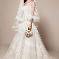 Chantilly Lace Gown with Full A Line Skirt - David's Bridal