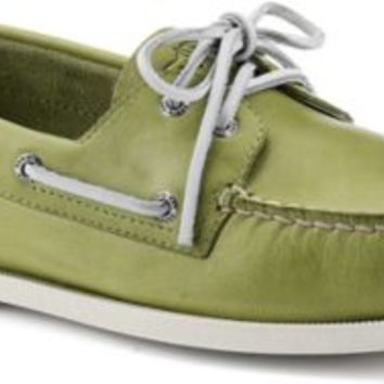 Sperry Top-Sider Cloud Logo Authentic Original Free Time 2-Eye Boat Shoe Green, Size 11.5M  Men's Shoes