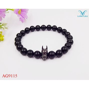 12pcs lot 8mm A Grade Black Onyx Stone Fashion Roman Knight Batman Bracelet Fine Men Women Party Gifts 2017