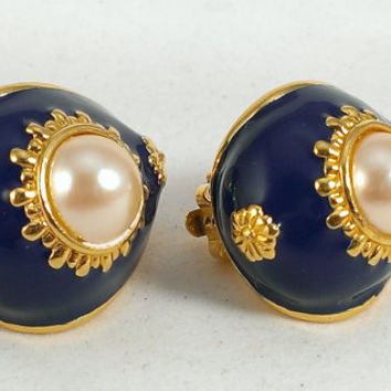 Joan Rivers QVC Earrings Faux Pearl Cabochon Navy Blue Enamel Gold Tone Floral Clip Nautical Traditional Designer Holiday Gifts for Her
