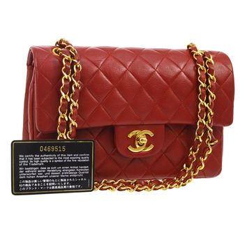Auth CHANEL Quilted CC Double Flap Chain Shoulder Bag Red Leather VTG NR10732