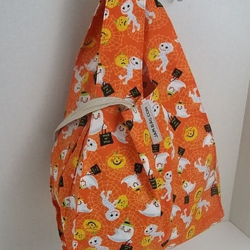 FOLDBAG // Foldable Lunch Bag - Halloween Orange - Small Grocery Bag // with Hook and Strap | reusable shopping bag, reusable grocery bag
