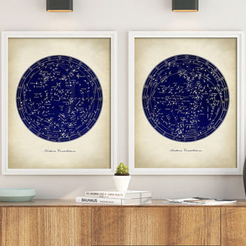 STAR MAP Astronomy  SET of 2, Constellations Chart Print, Stars Print, Astronomy Room Decor, Astronomy Poster, Celestial Wall Art