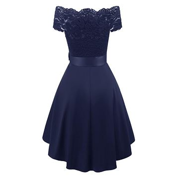 New short evening dress off shoulder lace satin Dresses Formal Party Dress navy blue burgundy prom dresses