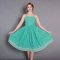 1950s Aqua Cotton DRESS / Vintage 50s SUN DRESS with White Embroidery and Full Skirt, xs - s
