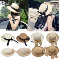 2017 Hot New Fashion Summer Casual Women Ladies Wide Brim Beach Sun Hat Elegant Straw Floppy Bohemia Cap For Women Dating Cheap