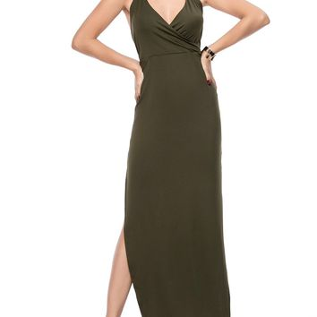 Streetstyle  Casual Hot X-Back Spaghetti Strap High Slit Solid Maxi Dress