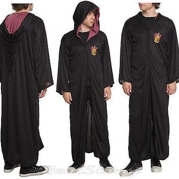 Licensed cool NEW Harry Potter Gryffindor Hooded Cosplay Cloak Hooded Robe Halloween Costume M