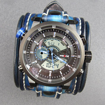 Blue Watch Cuff, Bracelet Watch, Leather Watch Cuff, Men's watch, Leather Wrist Watch, Wide Watch Cuff