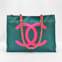 Chanel Vintage Green & Pink Nylon XL Tote Bag