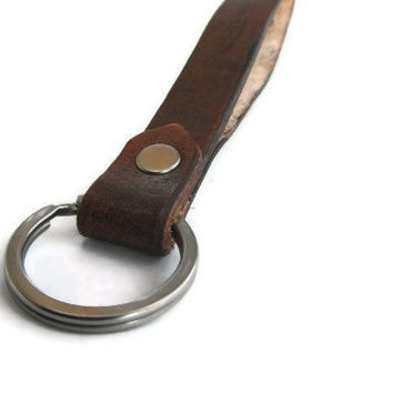 Leather Key Chain Lanyard in Brown with Solid Iron Key Ring - Made in USA