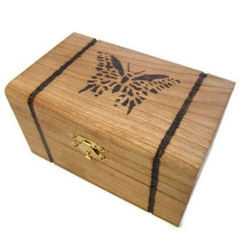 Wood Burned Butterfly Box by DeweysNook on Etsy