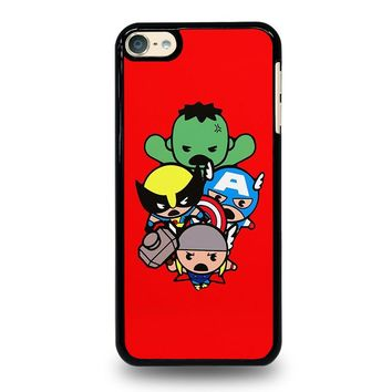 KAWAII CAPTAIN AMERICA HULK THOR WOLVERINE Marvel Avengers iPod Touch 6 Case Cover