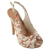 Hailey Jeans Co Womens Floral Peep Toe Slingback Pumps