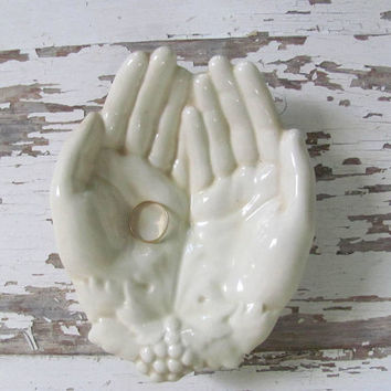 20% OFF SALE... vintage pair of Hands shaped soap dish or trinket bowl