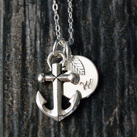Silver Anchor Necklace, Initial Charm Necklace, Personalized Necklace, Nautical Charm, Anchor charm, Anchor Pendant necklace, Nautical