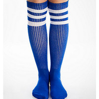 Royal Blue And White Athletic Stripe Knee High Socks - Spencer's