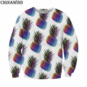 New funny hoodie men/women Psychedelic Hypnosis pineapple 3D printed sweatshirts Long sleeve Harajuku style streetwear tops