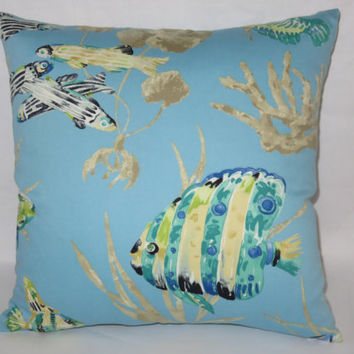 "Aqua Tropical Fish Pillow, Cotton 17"" Square, Island Coral Reef, Blue Green Yellow, Zipper Cover Only Or Insert Included, Ready Ship"