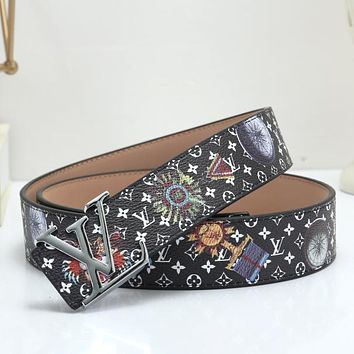 Louis Vuitton LV Woman Men Fashion Smooth Buckle Leather Belt