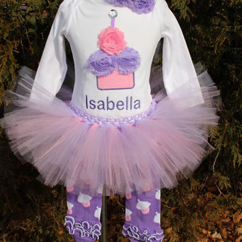 GIRLS Pink/ Purple Shabby Personalized Birthday Flower Cupcake Candle Baby Onesuit Toddler 1st First Party Outfit Set leg warmers and tutu
