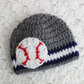 Yankees Baby Baseball Hat Grey Navy White Baby Baseball Team hat baby crochet hat